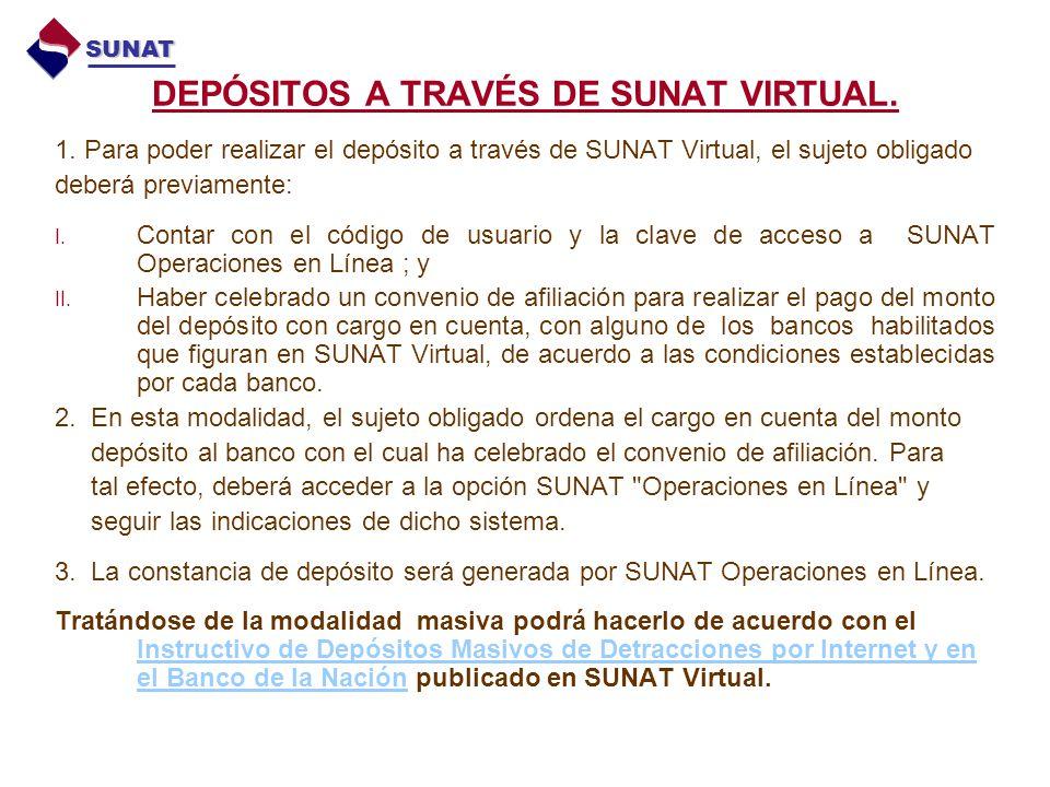 DEPÓSITOS A TRAVÉS DE SUNAT VIRTUAL. 1. Para poder realizar el depósito a través de SUNAT Virtual, el sujeto obligado deberá previamente: I. Contar co