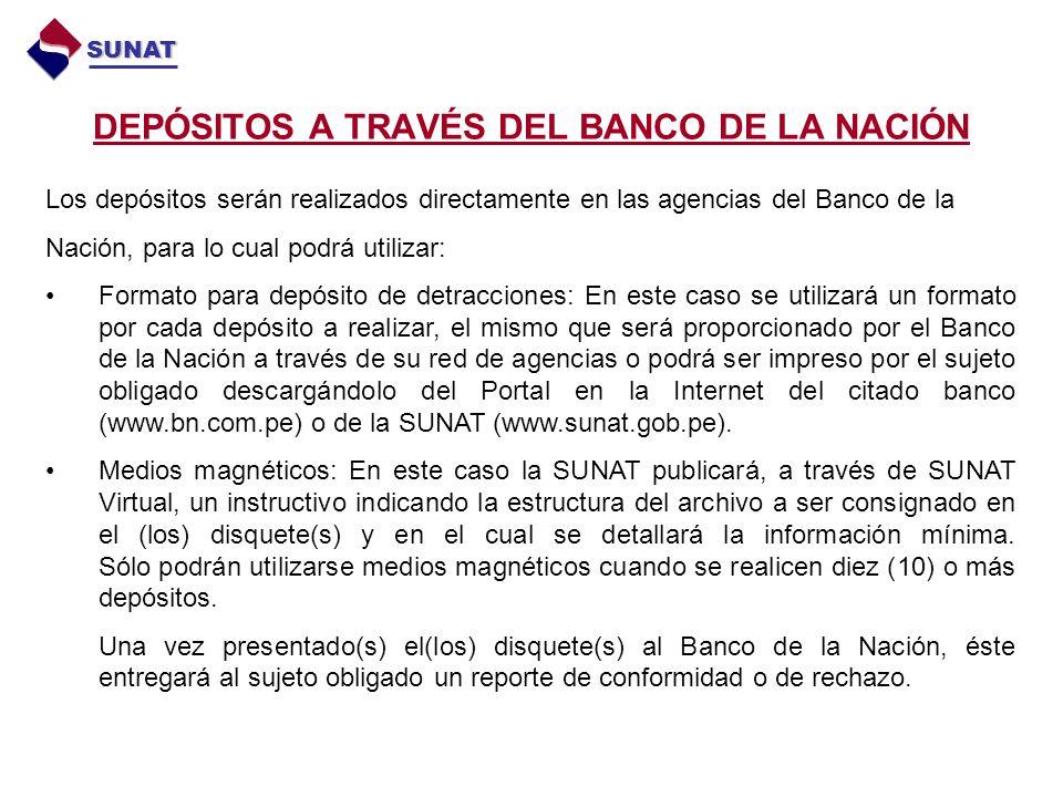 DEPÓSITOS A TRAVÉS DEL BANCO DE LA NACIÓN SUNAT Los depósitos serán realizados directamente en las agencias del Banco de la Nación, para lo cual podrá