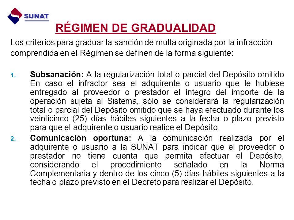 RÉGIMEN DE GRADUALIDAD Los criterios para graduar la sanción de multa originada por la infracción comprendida en el Régimen se definen de la forma sig