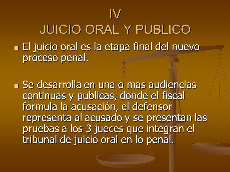 IV JUICIO ORAL Y PUBLICO El juicio oral es la etapa final del nuevo proceso penal. El juicio oral es la etapa final del nuevo proceso penal. Se desarr