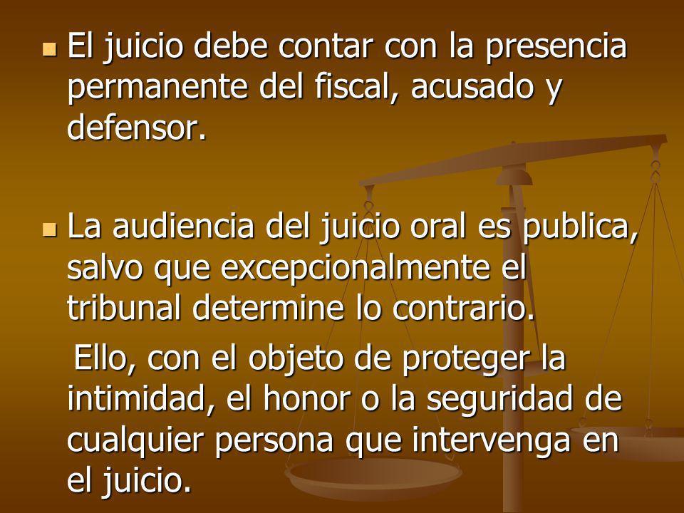 El juicio debe contar con la presencia permanente del fiscal, acusado y defensor. El juicio debe contar con la presencia permanente del fiscal, acusad