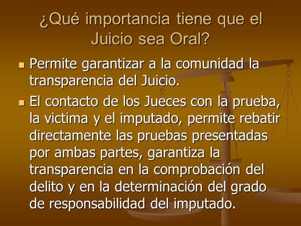 ¿Qué importancia tiene que el Juicio sea Oral? Permite garantizar a la comunidad la transparencia del Juicio. Permite garantizar a la comunidad la tra
