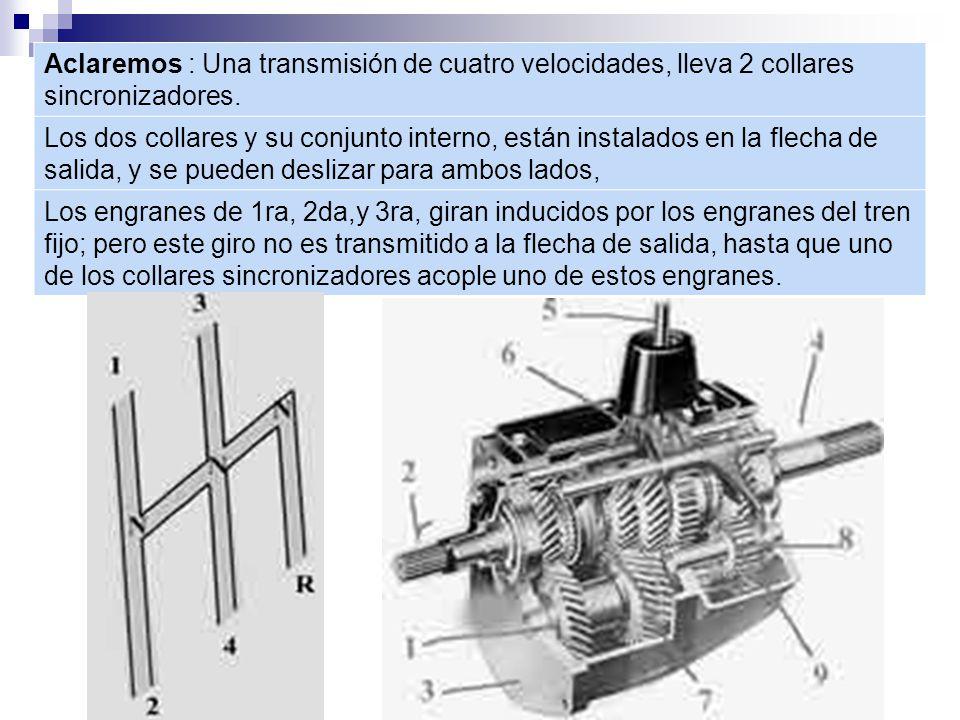 Aclaremos : Una transmisión de cuatro velocidades, lleva 2 collares sincronizadores.