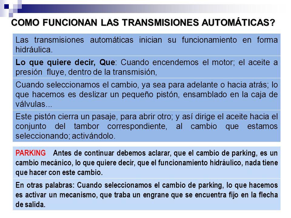 Las transmisiones automáticas inician su funcionamiento en forma hidráulica.