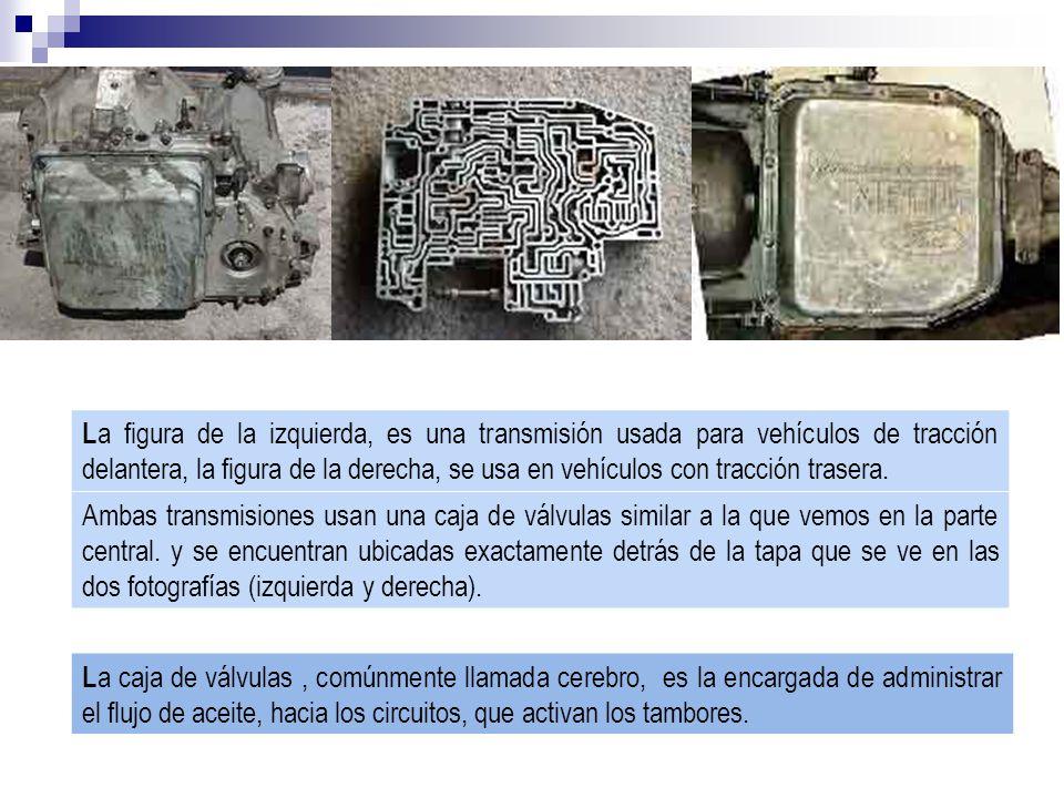 L a figura de la izquierda, es una transmisión usada para vehículos de tracción delantera, la figura de la derecha, se usa en vehículos con tracción trasera.