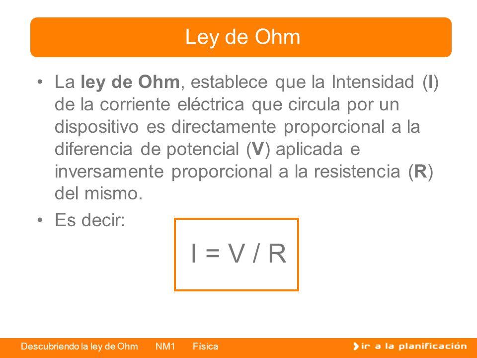 Descubriendo la ley de Ohm NM1 Física La ley de Ohm, establece que la Intensidad (I) de la corriente eléctrica que circula por un dispositivo es direc