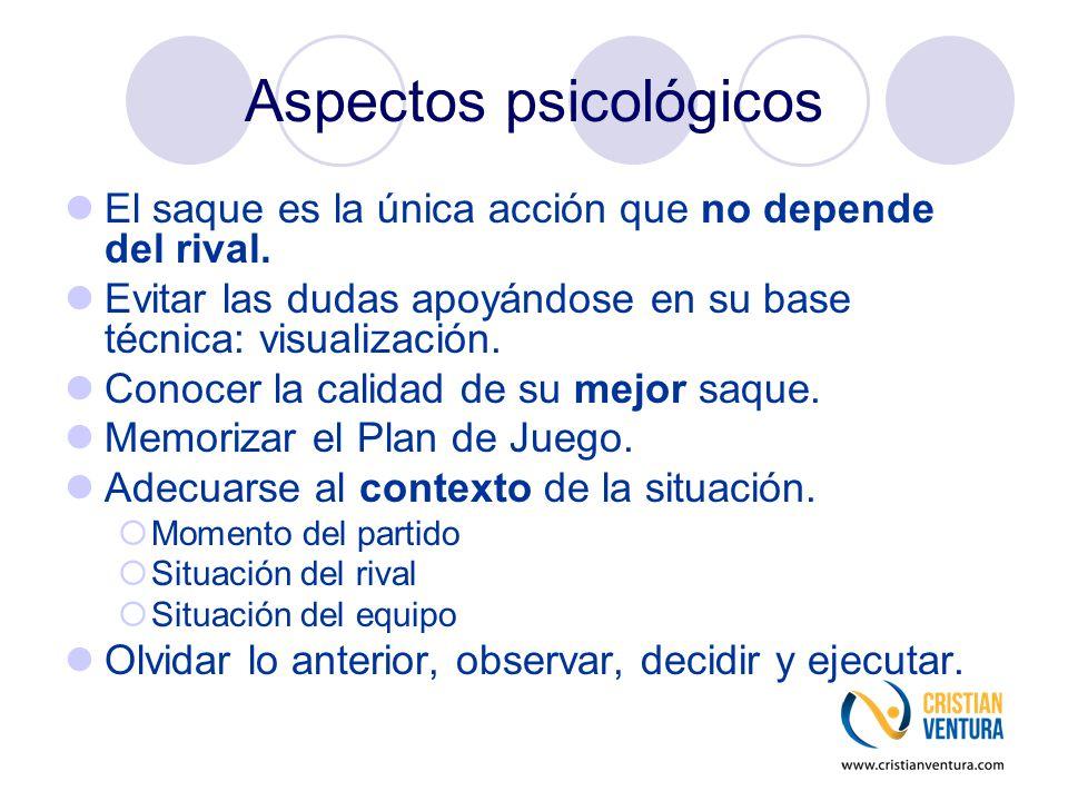 Aspectos psicológicos El saque es la única acción que no depende del rival. Evitar las dudas apoyándose en su base técnica: visualización. Conocer la