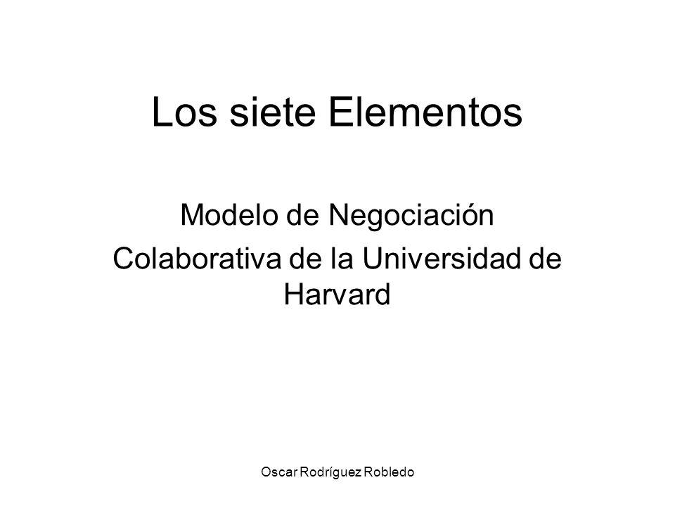 Oscar Rodríguez Robledo Los siete Elementos Modelo de Negociación Colaborativa de la Universidad de Harvard