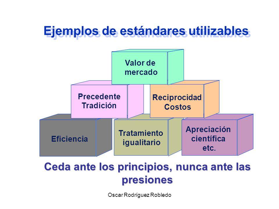 Oscar Rodríguez Robledo Utilice ESTANDARES independientes (Criterios Objetivos de Referencia) Vara de medición, independiente de la voluntad de las partes, que sirve para evaluar opciones en el conflicto.