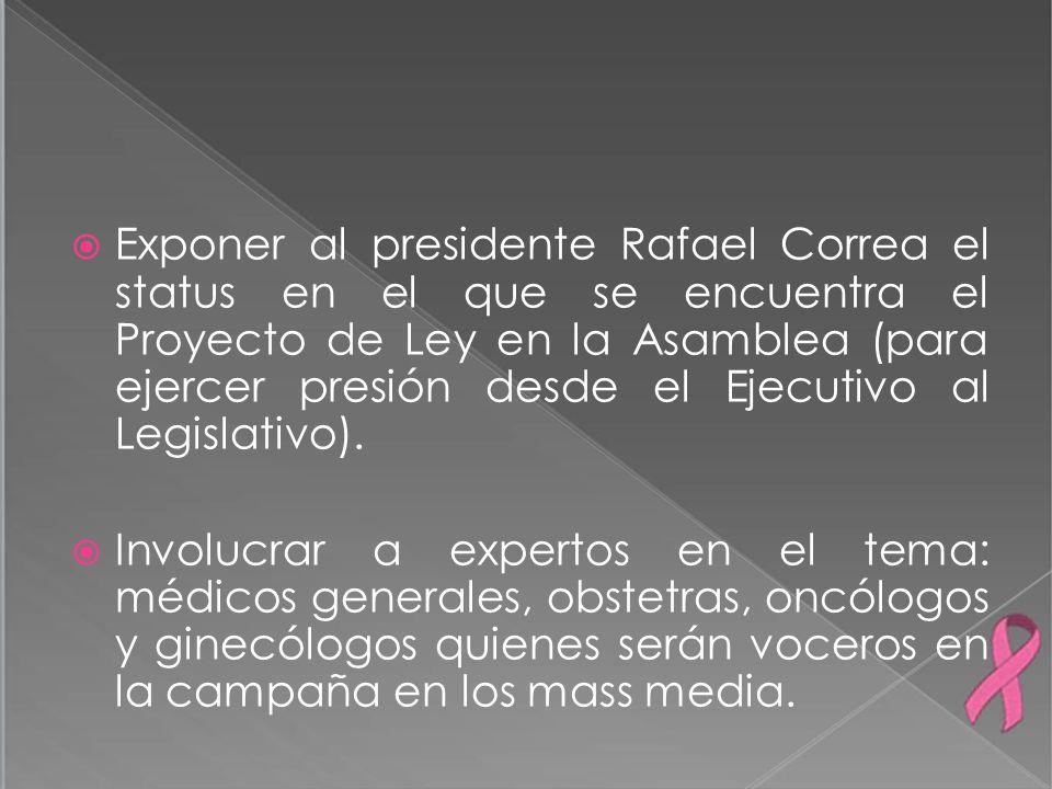 Exponer al presidente Rafael Correa el status en el que se encuentra el Proyecto de Ley en la Asamblea (para ejercer presión desde el Ejecutivo al Leg