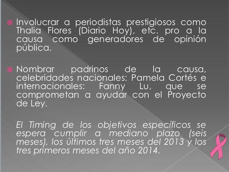 Involucrar a periodistas prestigiosos como Thalia Flores (Diario Hoy), etc. pro a la causa como generadores de opinión pública. Nombrar padrinos de la