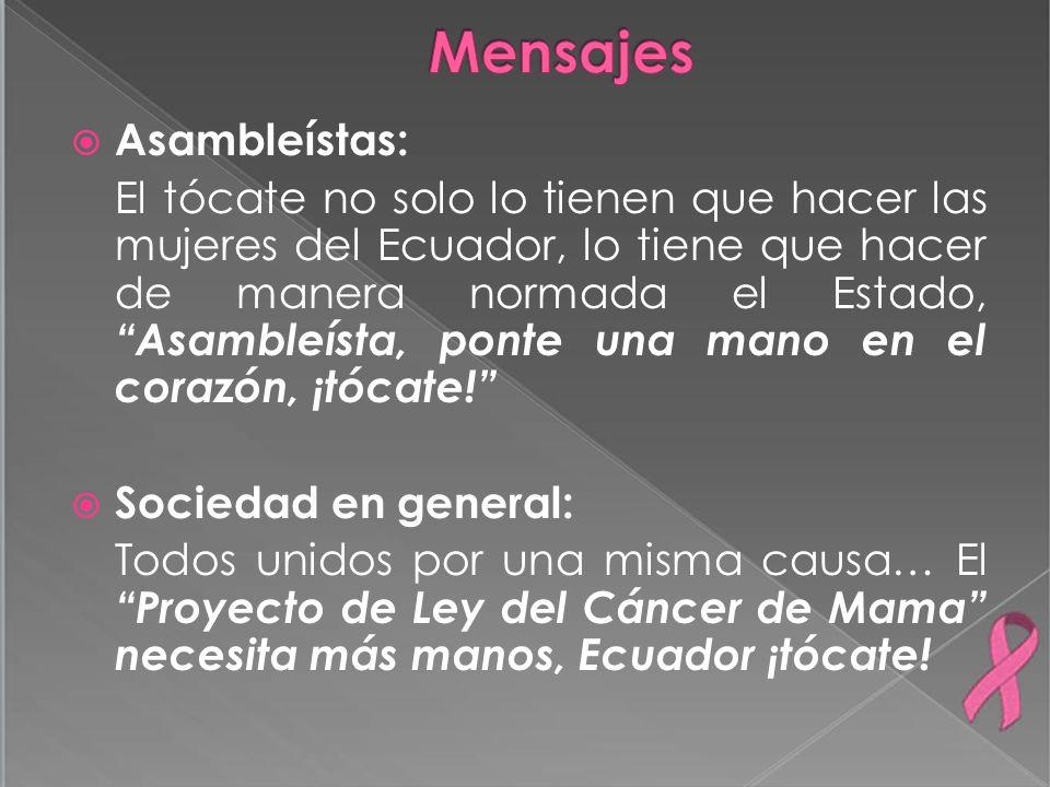 Asambleístas: El tócate no solo lo tienen que hacer las mujeres del Ecuador, lo tiene que hacer de manera normada el Estado, Asambleísta, ponte una ma