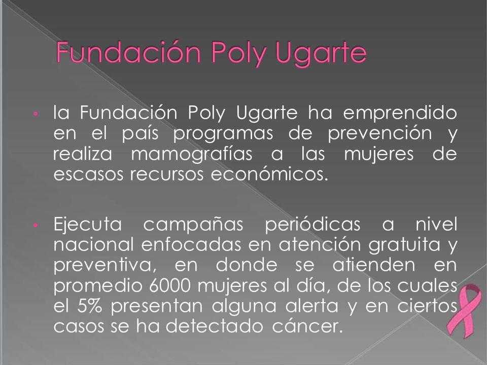 la Fundación Poly Ugarte ha emprendido en el país programas de prevención y realiza mamografías a las mujeres de escasos recursos económicos. Ejecuta