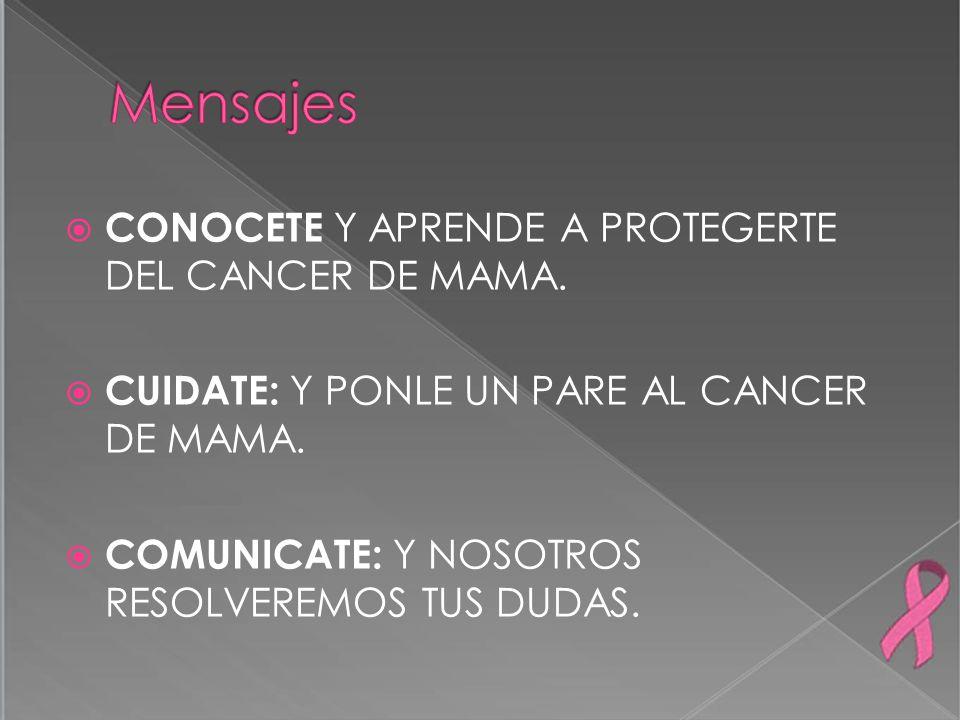 CONOCETE Y APRENDE A PROTEGERTE DEL CANCER DE MAMA. CUIDATE: Y PONLE UN PARE AL CANCER DE MAMA. COMUNICATE: Y NOSOTROS RESOLVEREMOS TUS DUDAS.