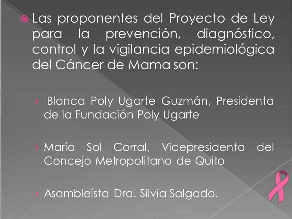 Las proponentes del Proyecto de Ley para la prevención, diagnóstico, control y la vigilancia epidemiológica del Cáncer de Mama son: Blanca Poly Ugarte