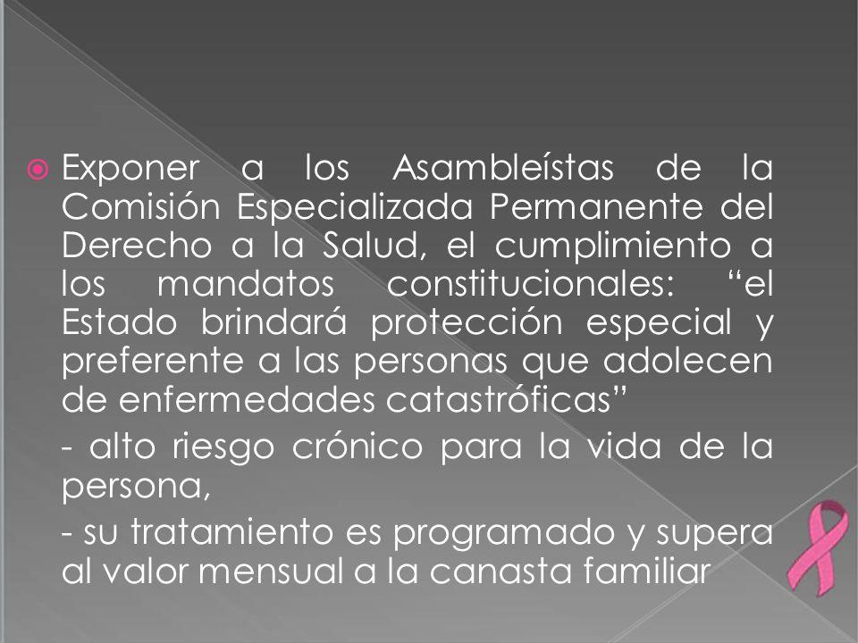 Exponer a los Asambleístas de la Comisión Especializada Permanente del Derecho a la Salud, el cumplimiento a los mandatos constitucionales: el Estado