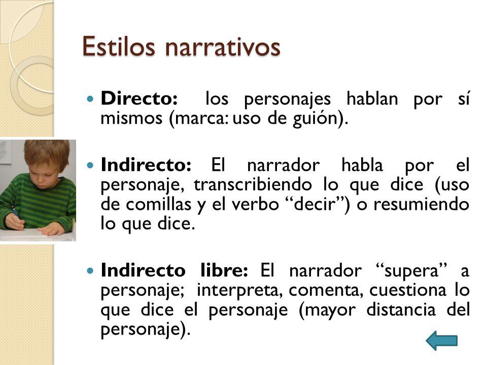 Estilos narrativos Directo: los personajes hablan por sí mismos (marca: uso de guión). Indirecto: El narrador habla por el personaje, transcribiendo l