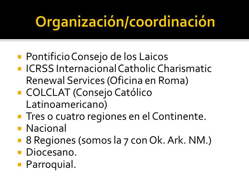 Pontificio Consejo de los Laicos ICRSS Internacional Catholic Charismatic Renewal Services (Oficina en Roma) COLCLAT (Consejo Católico Latinoamericano) Tres o cuatro regiones en el Continente.