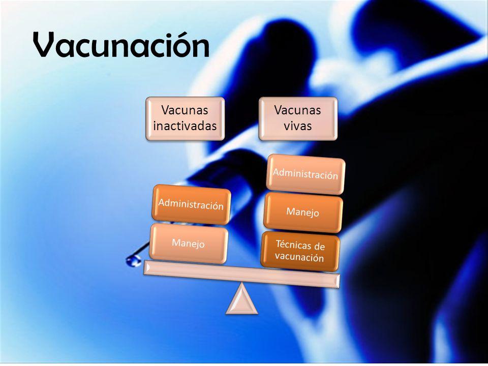 Vacunación Vacunas inactivadas Vacunas vivas Técnicas de vacunación ManejoAdministraciónManejoAdministración