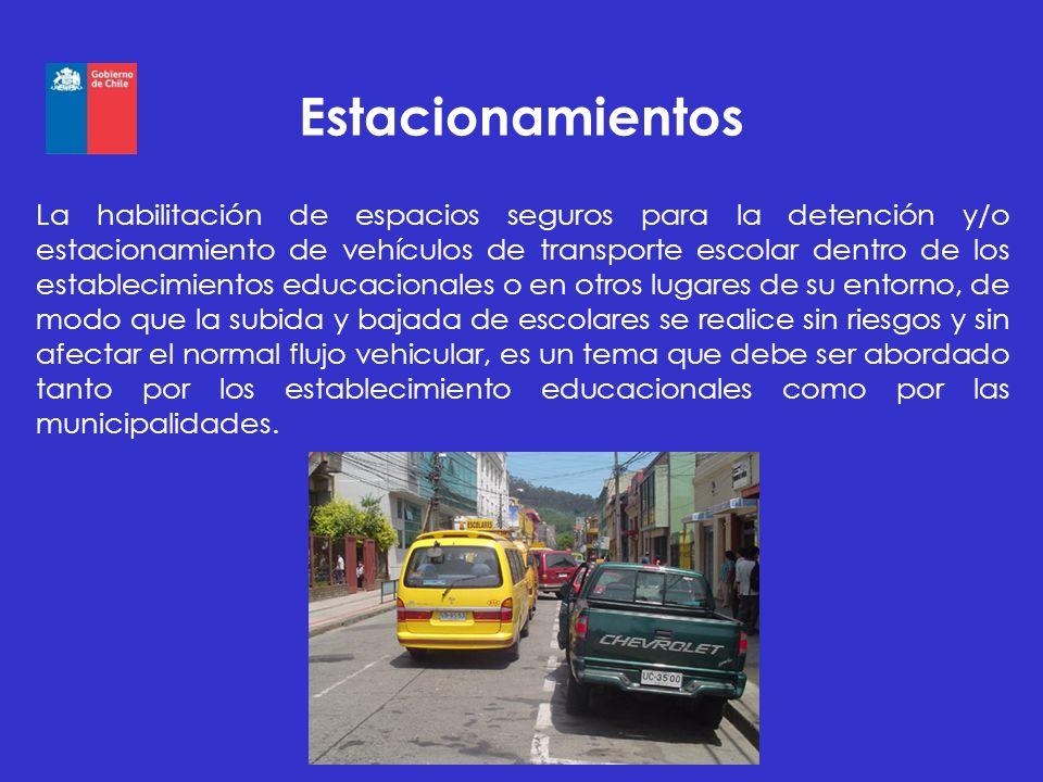 Estacionamientos La habilitación de espacios seguros para la detención y/o estacionamiento de vehículos de transporte escolar dentro de los establecim