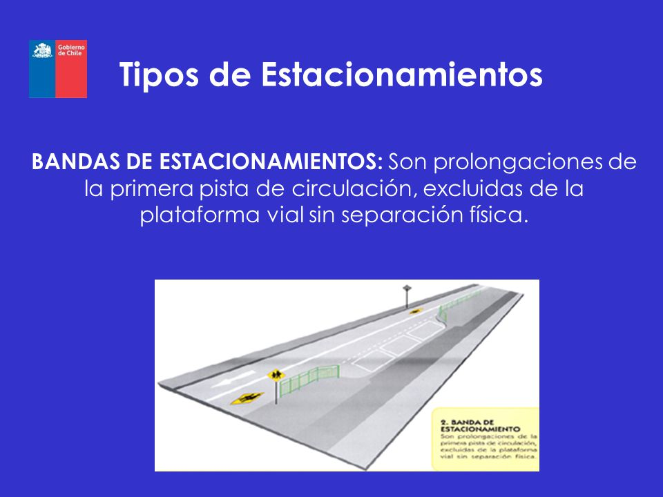 Tipos de Estacionamientos BANDAS DE ESTACIONAMIENTOS: Son prolongaciones de la primera pista de circulación, excluidas de la plataforma vial sin separ