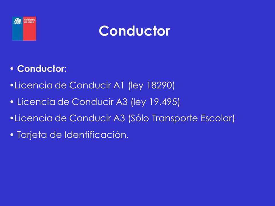 Conductor Conductor: Licencia de Conducir A1 (ley 18290) Licencia de Conducir A3 (ley 19.495) Licencia de Conducir A3 (Sólo Transporte Escolar) Tarjet