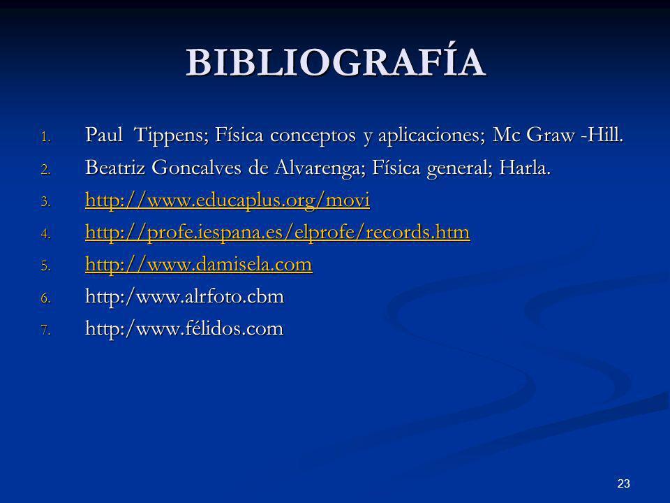 23 BIBLIOGRAFÍA 1. Paul Tippens; Física conceptos y aplicaciones; Mc Graw -Hill. 2. Beatriz Goncalves de Alvarenga; Física general; Harla. 3. http://w
