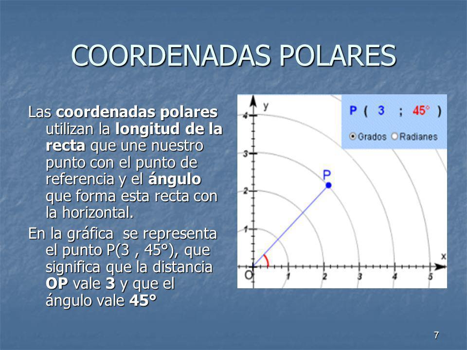 7 COORDENADAS POLARES Las coordenadas polares utilizan la longitud de la recta que une nuestro punto con el punto de referencia y el ángulo que forma