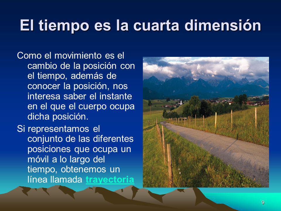 9 El tiempo es la cuarta dimensión Como el movimiento es el cambio de la posición con el tiempo, además de conocer la posición, nos interesa saber el
