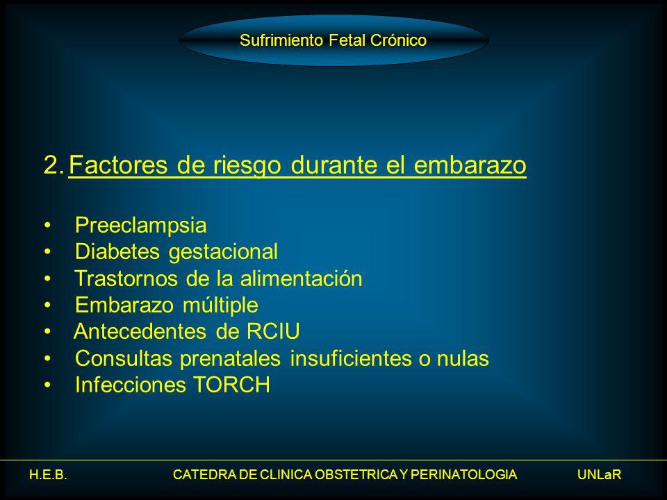 H.E.B. CATEDRA DE CLINICA OBSTETRICA Y PERINATOLOGIA UNLaR 2.Factores de riesgo durante el embarazo Preeclampsia Diabetes gestacional Trastornos de la