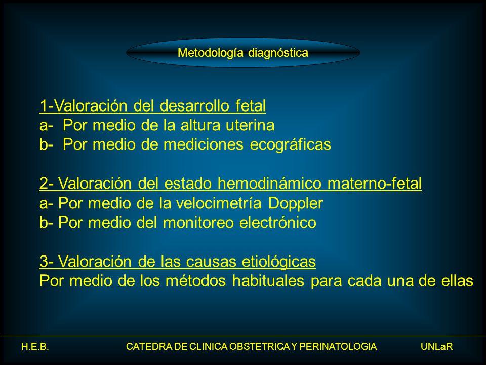 H.E.B. CATEDRA DE CLINICA OBSTETRICA Y PERINATOLOGIA UNLaR 1-Valoración del desarrollo fetal a- Por medio de la altura uterina b- Por medio de medicio