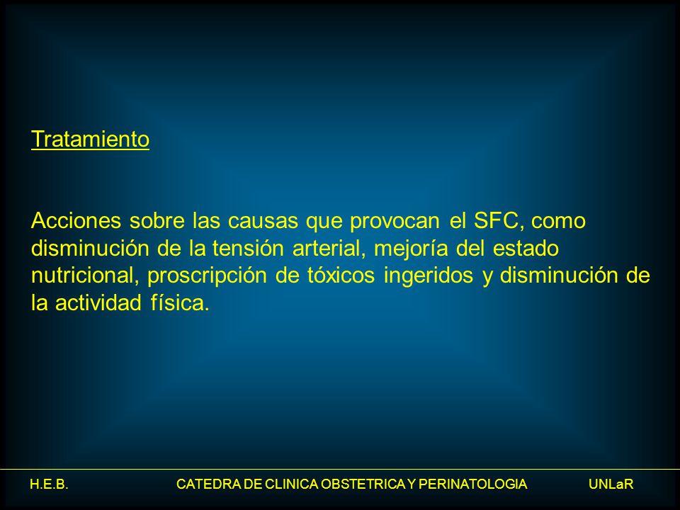 H.E.B. CATEDRA DE CLINICA OBSTETRICA Y PERINATOLOGIA UNLaR Tratamiento Acciones sobre las causas que provocan el SFC, como disminución de la tensión a