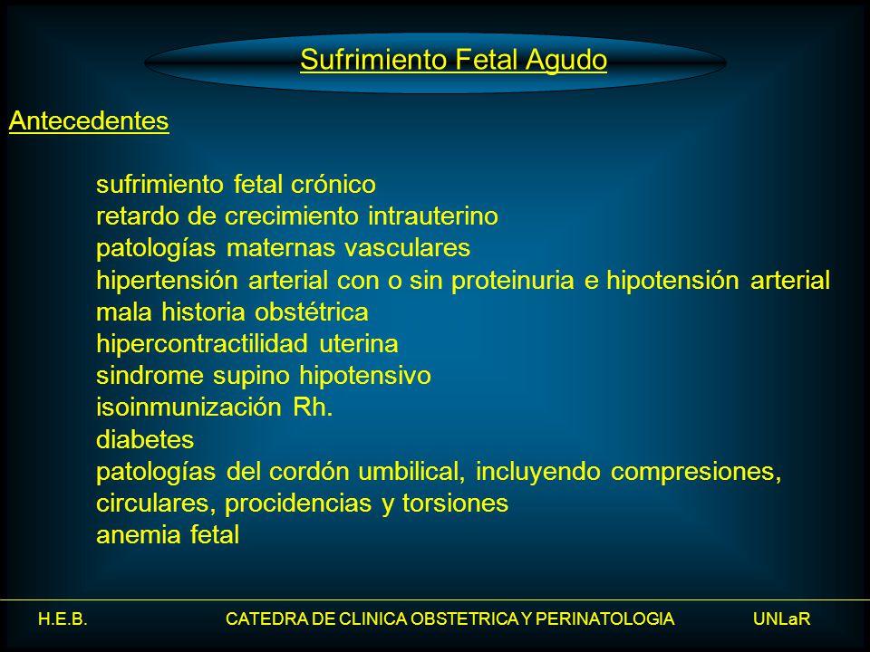 H.E.B. CATEDRA DE CLINICA OBSTETRICA Y PERINATOLOGIA UNLaR Sufrimiento Fetal Agudo Antecedentes sufrimiento fetal crónico retardo de crecimiento intra