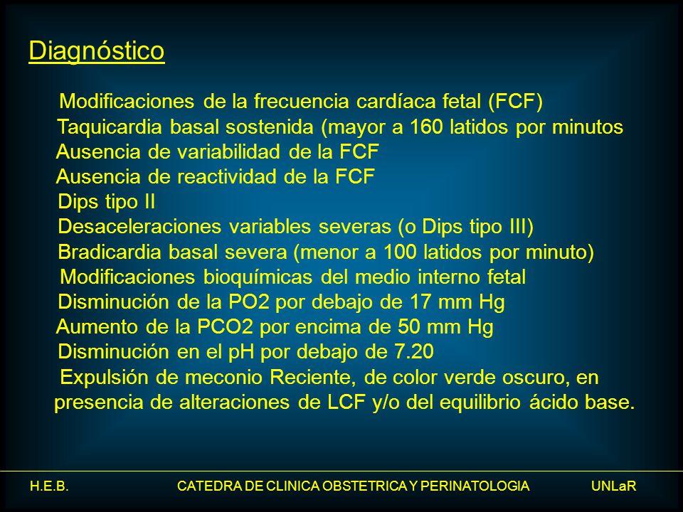H.E.B. CATEDRA DE CLINICA OBSTETRICA Y PERINATOLOGIA UNLaR Diagnóstico Modificaciones de la frecuencia cardíaca fetal (FCF) Taquicardia basal sostenid