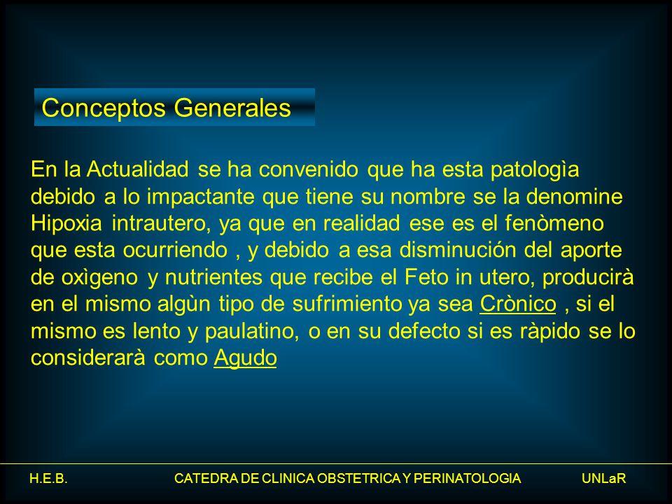H.E.B. CATEDRA DE CLINICA OBSTETRICA Y PERINATOLOGIA UNLaR En la Actualidad se ha convenido que ha esta patologìa debido a lo impactante que tiene su