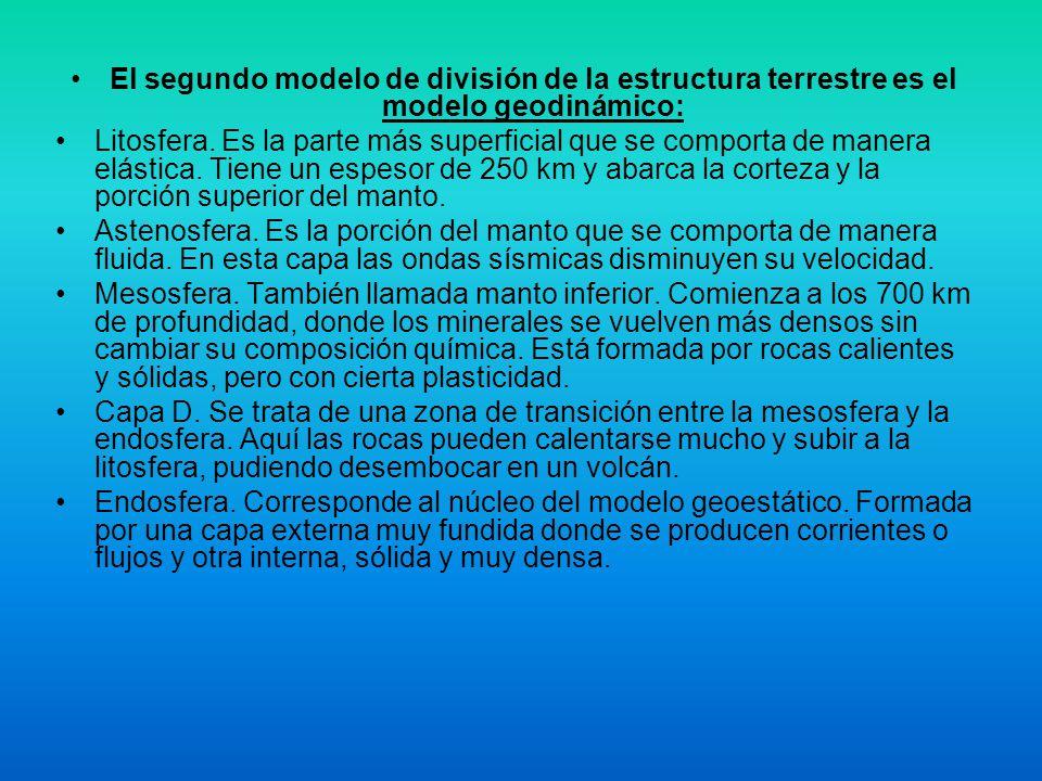 El segundo modelo de división de la estructura terrestre es el modelo geodinámico: Litosfera. Es la parte más superficial que se comporta de manera el