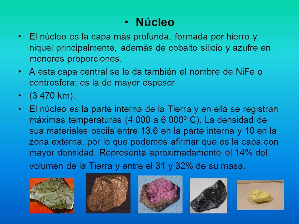 Núcleo El núcleo es la capa más profunda, formada por hierro y niquel principalmente, además de cobalto silicio y azufre en menores proporciones. A es
