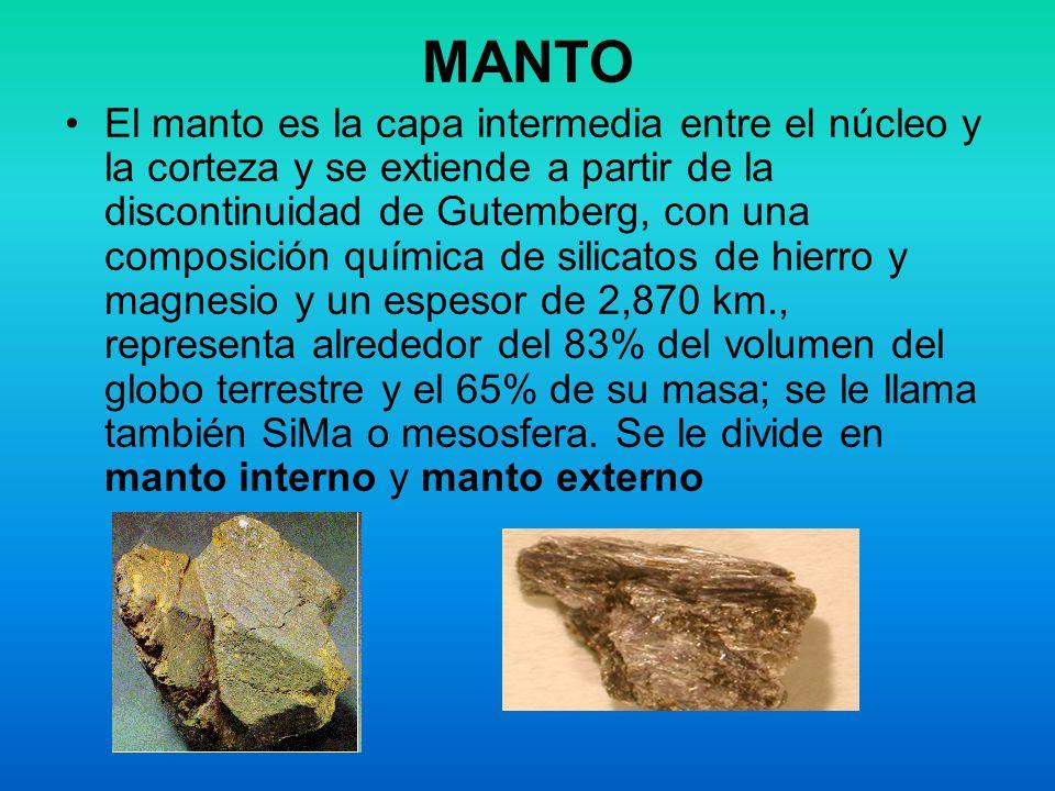 MANTO El manto es la capa intermedia entre el núcleo y la corteza y se extiende a partir de la discontinuidad de Gutemberg, con una composición químic