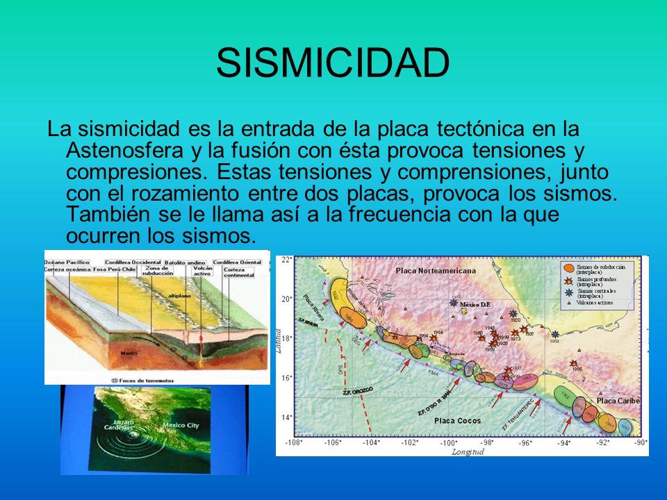 SISMICIDAD La sismicidad es la entrada de la placa tectónica en la Astenosfera y la fusión con ésta provoca tensiones y compresiones. Estas tensiones