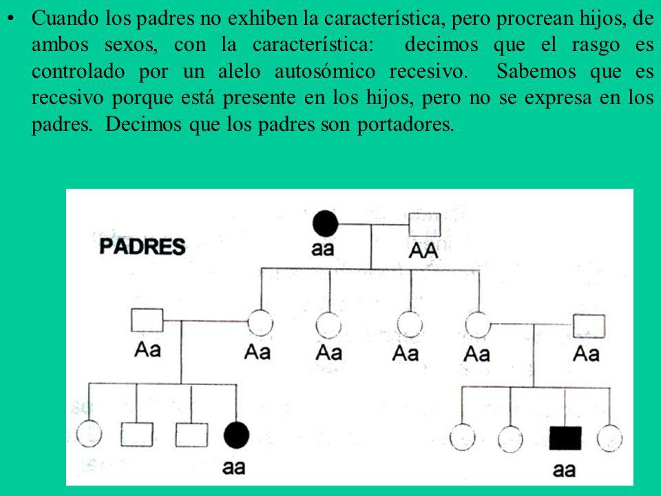 Cuando los padres no exhiben la característica, pero procrean hijos, de ambos sexos, con la característica: decimos que el rasgo es controlado por un