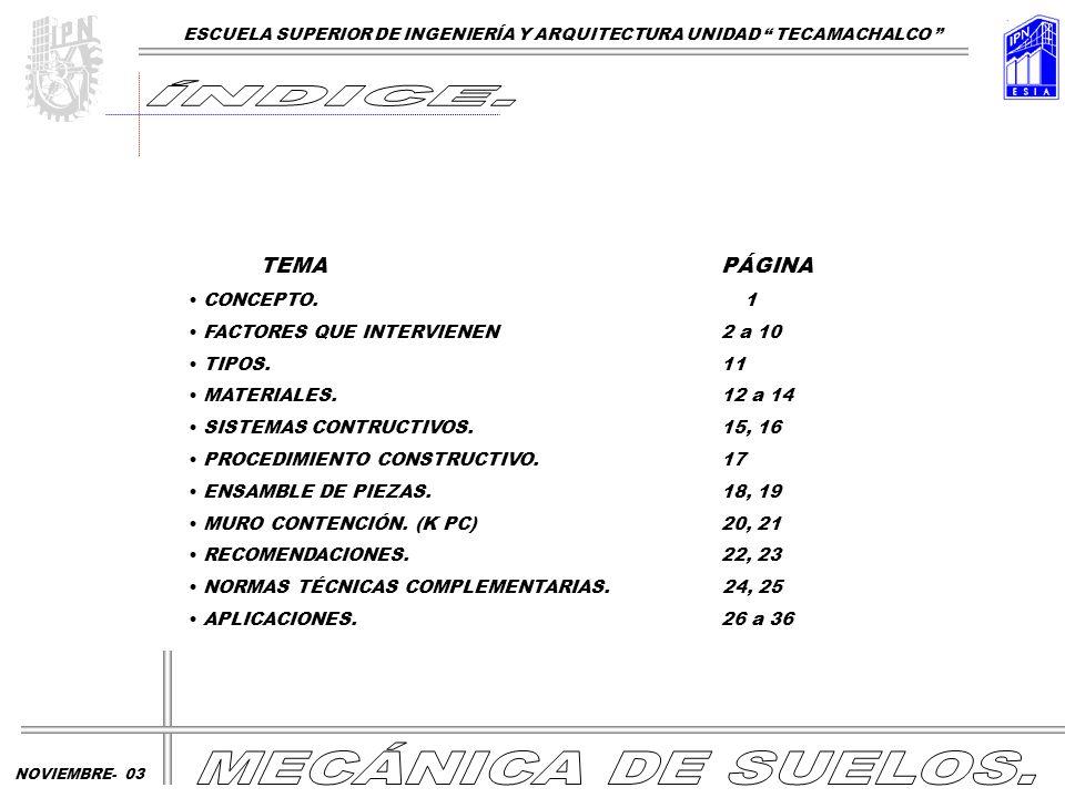 TEMA PÁGINA CONCEPTO. 1 FACTORES QUE INTERVIENEN2 a 10 TIPOS.11 MATERIALES.12 a 14 SISTEMAS CONTRUCTIVOS.15, 16 PROCEDIMIENTO CONSTRUCTIVO.17 ENSAMBLE