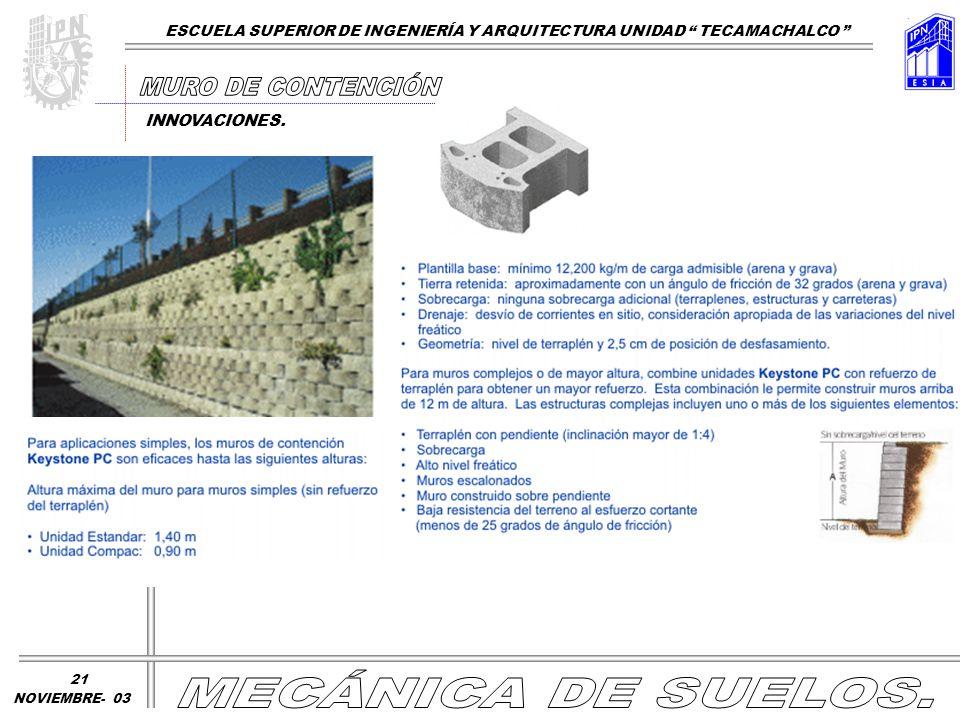 ESCUELA SUPERIOR DE INGENIERÍA Y ARQUITECTURA UNIDAD TECAMACHALCO NOVIEMBRE- 03 INNOVACIONES. 21