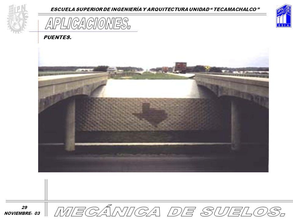 PUENTES. ESCUELA SUPERIOR DE INGENIERÍA Y ARQUITECTURA UNIDAD TECAMACHALCO NOVIEMBRE- 03 29