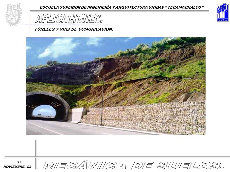 TÚNELES Y VÍAS DE COMUNICACIÓN. ESCUELA SUPERIOR DE INGENIERÍA Y ARQUITECTURA UNIDAD TECAMACHALCO NOVIEMBRE- 03 33