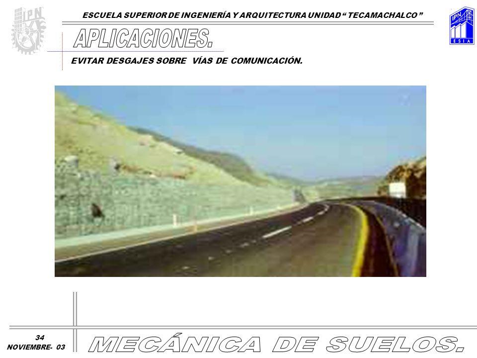 EVITAR DESGAJES SOBRE VÍAS DE COMUNICACIÓN. ESCUELA SUPERIOR DE INGENIERÍA Y ARQUITECTURA UNIDAD TECAMACHALCO NOVIEMBRE- 03 34