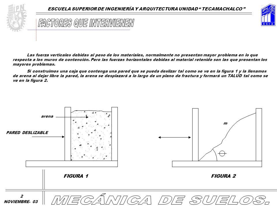 Las fuerza verticales debidas al peso de los materiales, normalmente no presentan mayor problema en lo que respecta a los muros de contención. Pero la