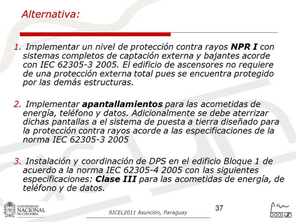 Alternativa: 1. Implementar un nivel de protección contra rayos NPR I con sistemas completos de captación externa y bajantes acorde con IEC 62305-3 20