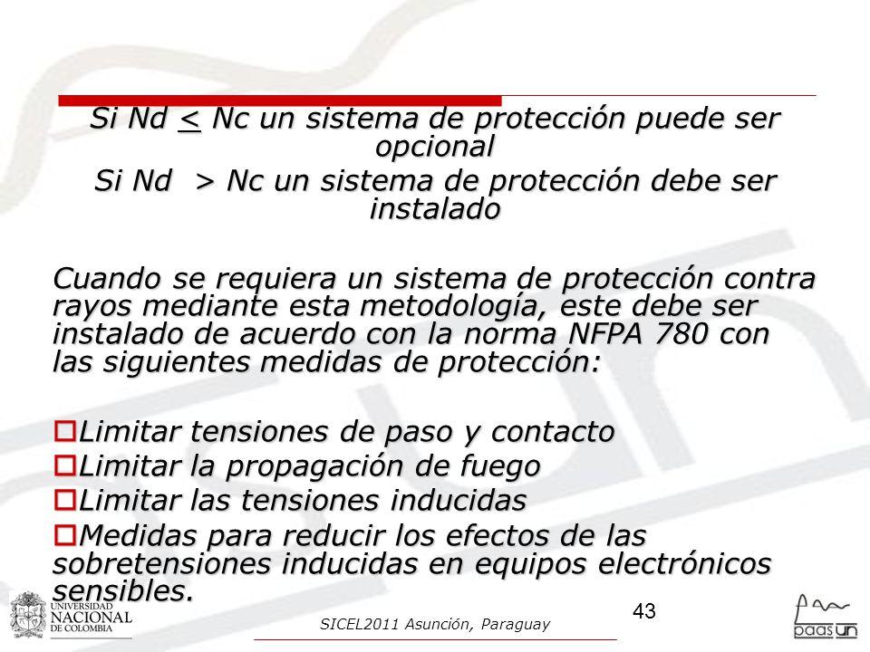 Si Nd < Nc un sistema de protección puede ser opcional Si Nd > Nc un sistema de protección debe ser instalado Cuando se requiera un sistema de protecc