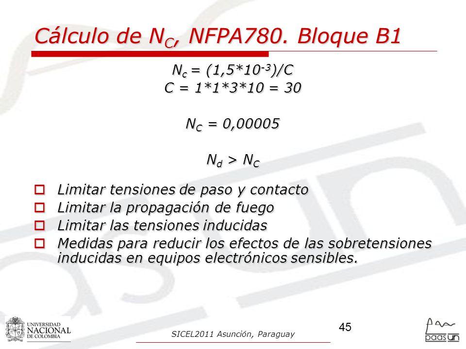 Cálculo de N C, NFPA780. Bloque B1 N c = (1,5*10 -3 )/C C = 1*1*3*10 = 30 N C = 0,00005 N d > N C Limitar tensiones de paso y contacto Limitar tension