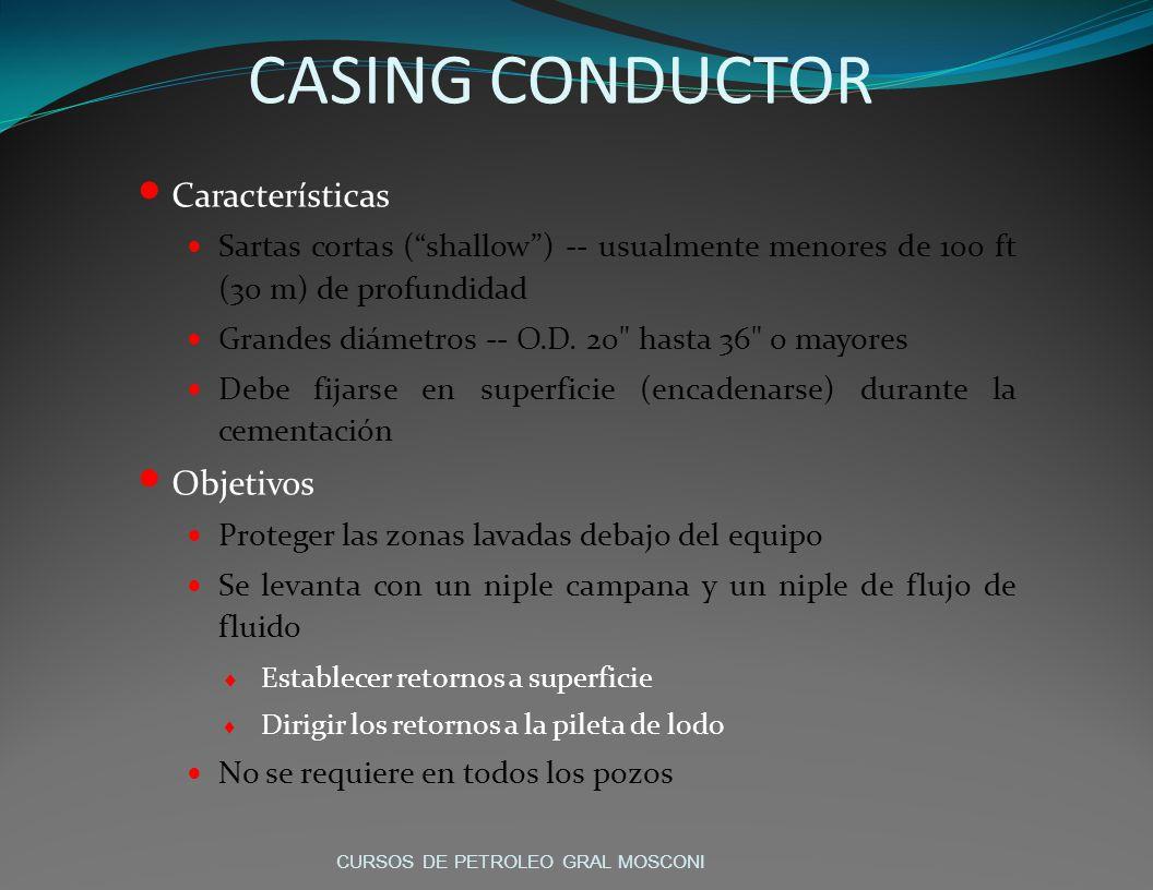 CASING CONDUCTOR Características Sartas cortas (shallow) -- usualmente menores de 100 ft (30 m) de profundidad Grandes diámetros -- O.D.